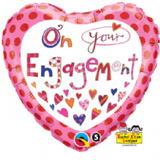 On Your Engagement Heart Foil Helium Balloon